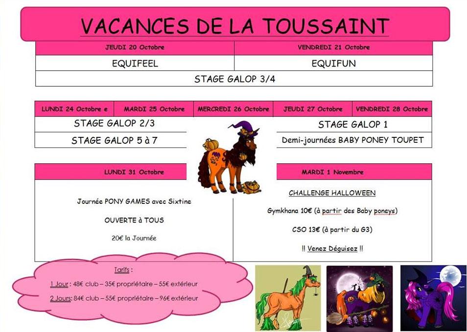 stages d'équitation des vacances de la Toussaint 2016
