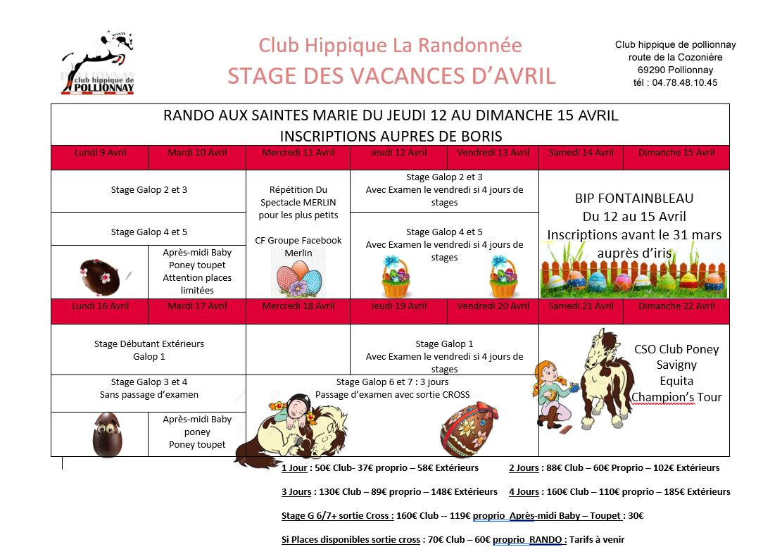 Stages vacances de pâques 2018
